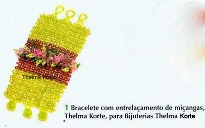 BRACELETE COM APLICAÇÃO DE FLORES DE MISSANGAS DE THELMA KORTE