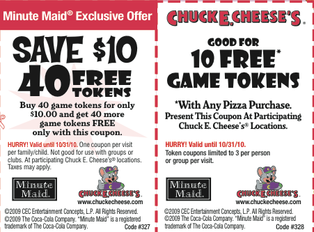 Chuckie Cheese Minute Maid Coupons http://www.frugallifeproject.com/2010/06/chucke-e-cheeses-coupons.html