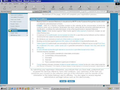 irctc terms and conditions page