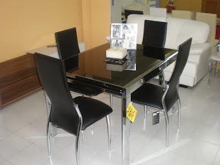 Muebles domingo bernal mesa comedor ext inox cristal negro for Muebles bernal