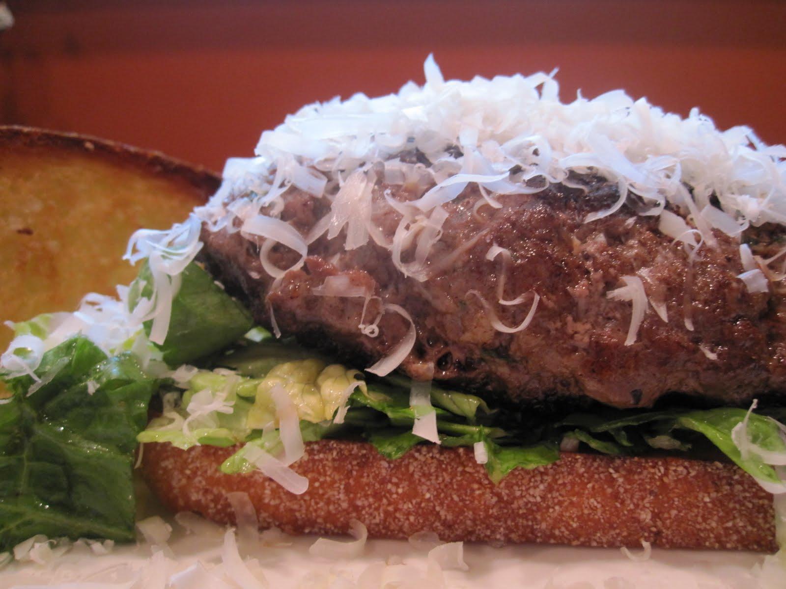 ... Burger Club: Caesar Salad and Flank Steak Burgers with Garlic Crostini