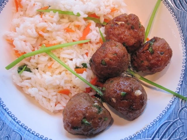 Stirring the Pot: Asian Turkey Meatballs with Carrot Rice ...