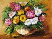 Fiori, un gentil pensieroolio a spatola su tela cm. 40x30anno 2009 (fiori un gentil pensiero olio spatola su tela cm)