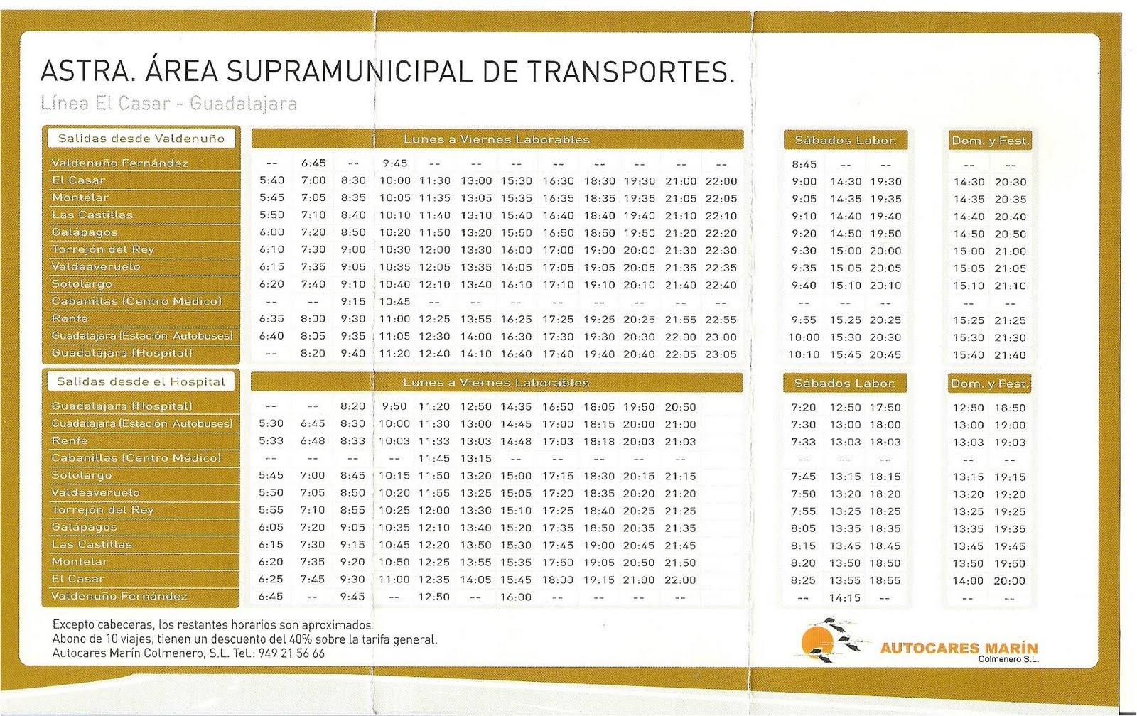 horarios mon bus: