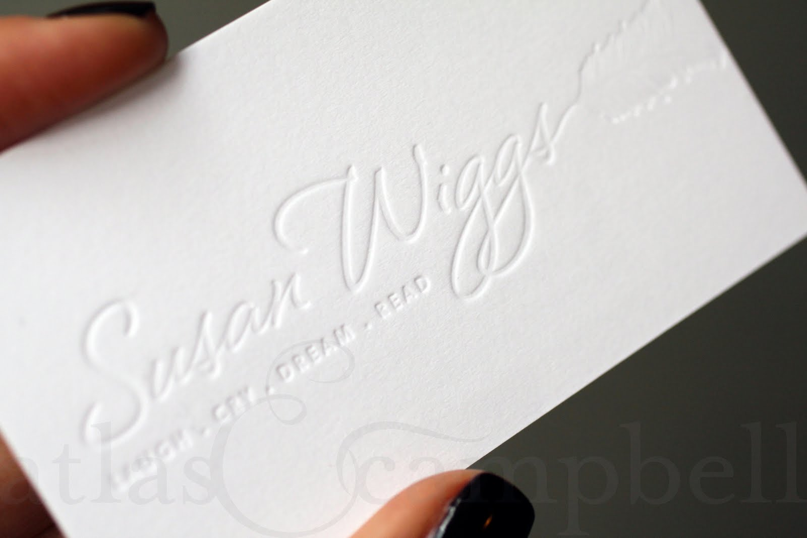 Atlas campbell sw business cards we started by creating a logo and all settled on this one you see here on the face of her new business card she let us use blind letterpress as one of magicingreecefo Choice Image