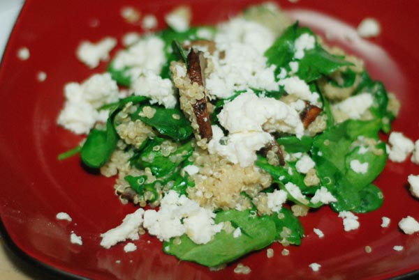 In Her Kitchen: Warm Quinoa, Spinach and Shiitake Salad