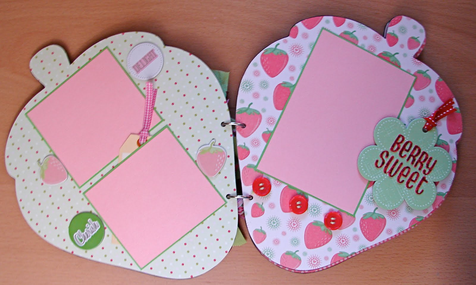 Hello kitty scrapbook ideas -  I Have Been Scrapbooking I Thought Up Of A New Chipboard Album Idea A Strawberry And Thanks To My Hello Kitty Cricut Cartridge Here It Is