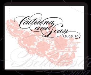 custom wedding monogram logo lace pink black