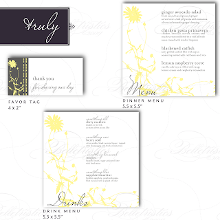 vintage floral dinner drink menu favor tag