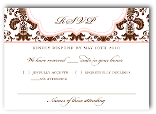 custom damask wedding invitation rsvp