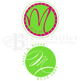 wedding monogram logo pink lime