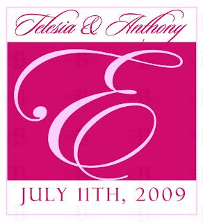 pink wedding monogram logo