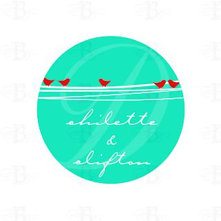 wedding monogram logo design birds red aqua teal