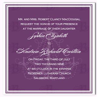 wedding invitation design purple chandelier