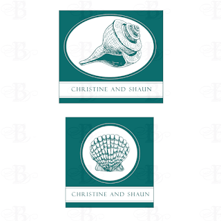 wedding monogram design logo sea shell