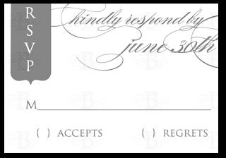 custom rsvp invitation design gray and white