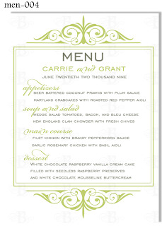 flourish dinner menu reception card design