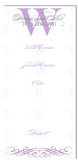 menu card reception monogram design purple