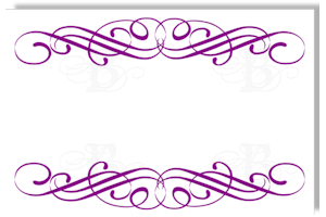 wedding reception escort card flourish design purple