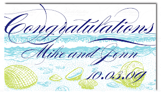 custom wedding congratulations sign beach seashell