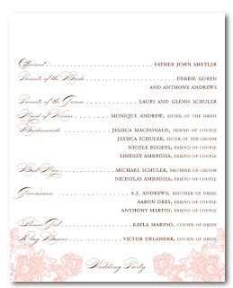 custom vintage lace calligraphy wedding ceremony program design