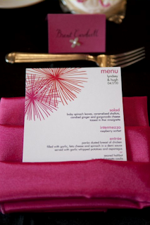 custom star burst pink orange menu card design