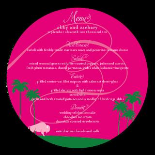 custom flourish round circle menu card card design