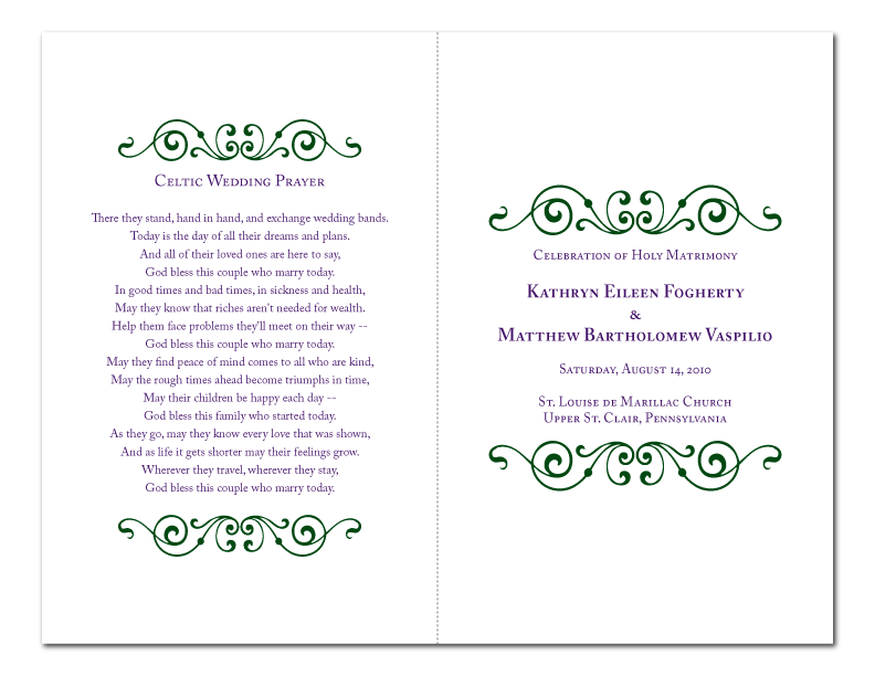 Kate ordered a custom ceremony program design in her wedding colors of
