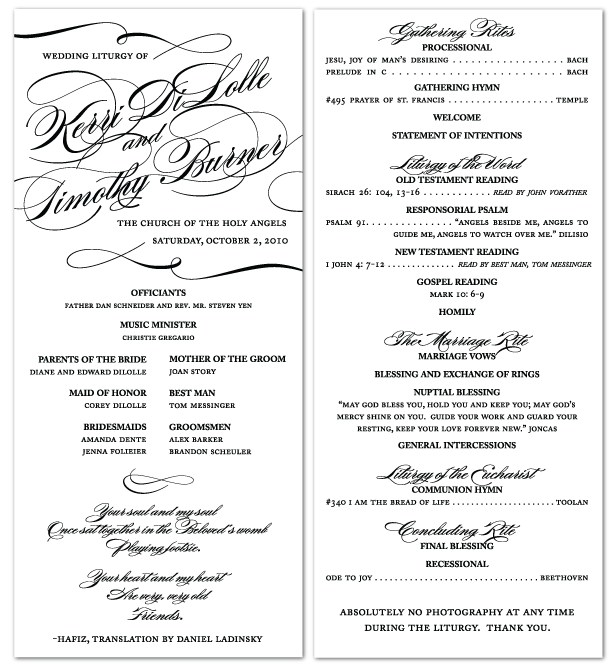custom calligraphy inspired ceremony program design