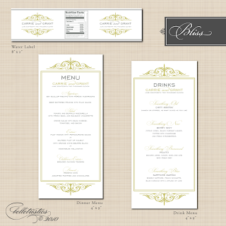 printable diy wedding reception dinner drink menu