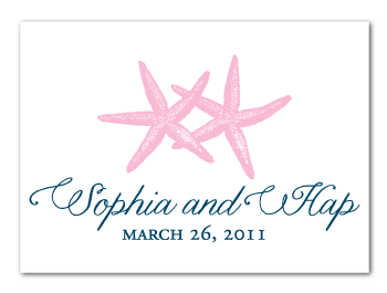 custom pink navy starfish beach theme vintage wedding monogram logo