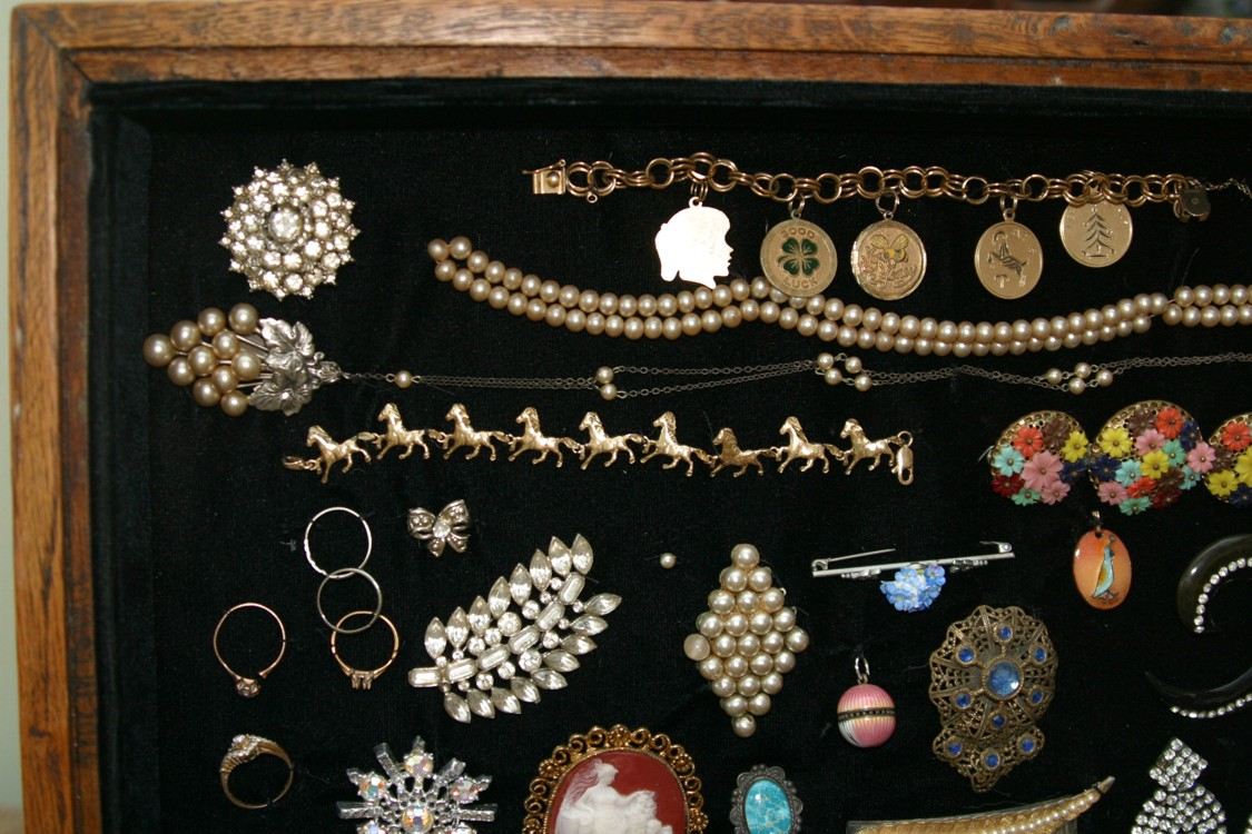 The Old House in Texas Heirloom jewelry in a refinished shadow box