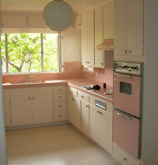 1950 39 s atomic ranch house 1950 39 s pink kitchen appliances for Kitchen cabinets 50 style