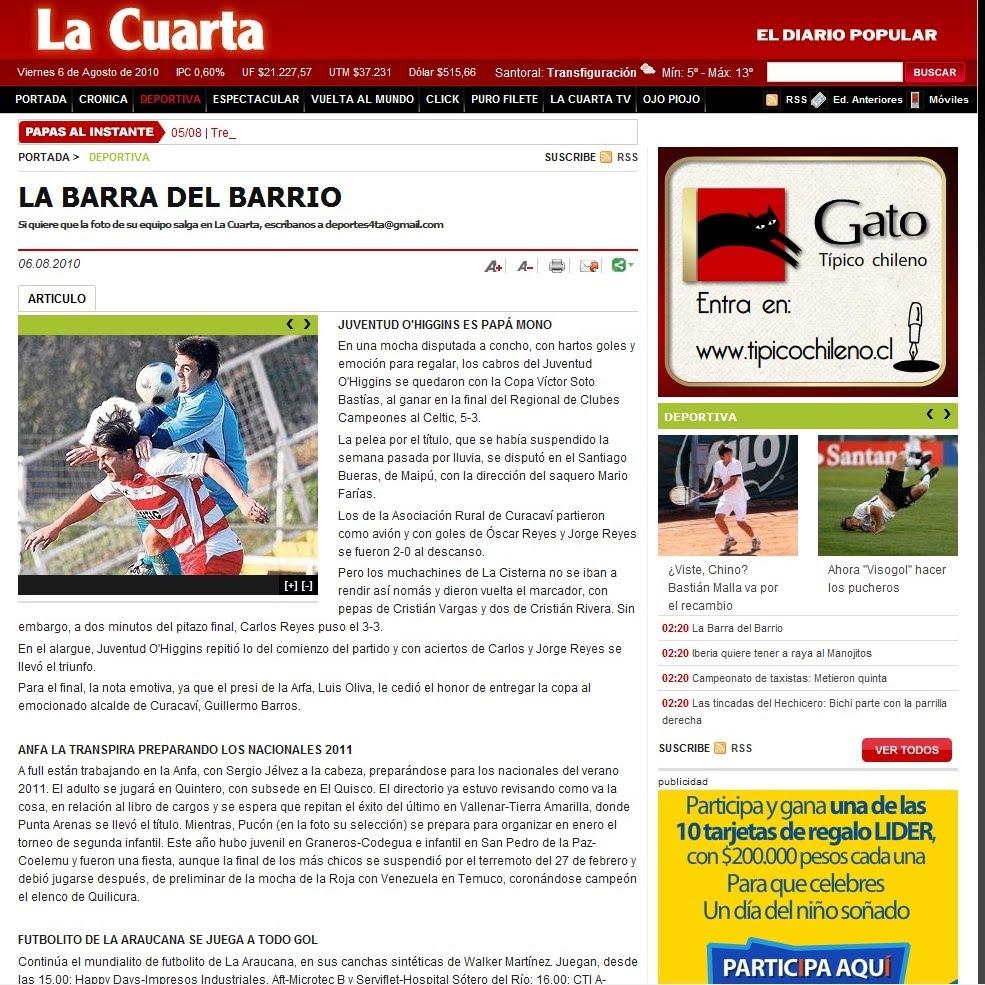 Club Deportivo Celtic F.C: Publicacion Diario La Cuarta 06 de Agosto ...