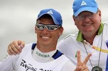 Silver medallist Vasilij Zbogar of Slovenia celebrates with Trevor millar