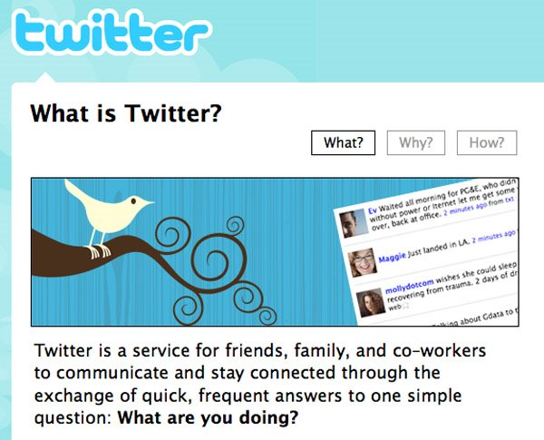 screen shot of twitter home and sign up page