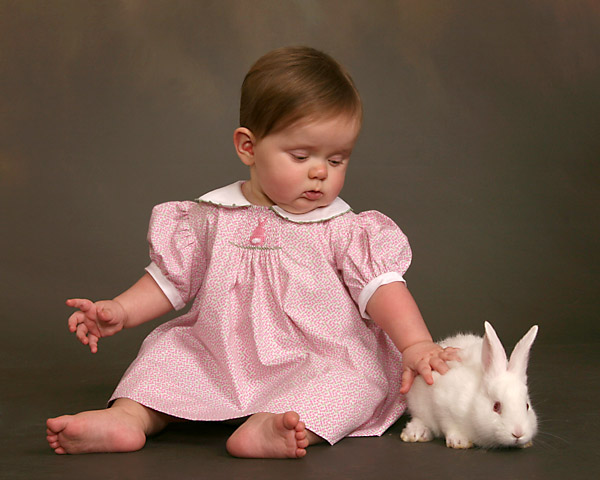 baby photography with white easter bunny