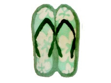green Hawaiian slippers rugs