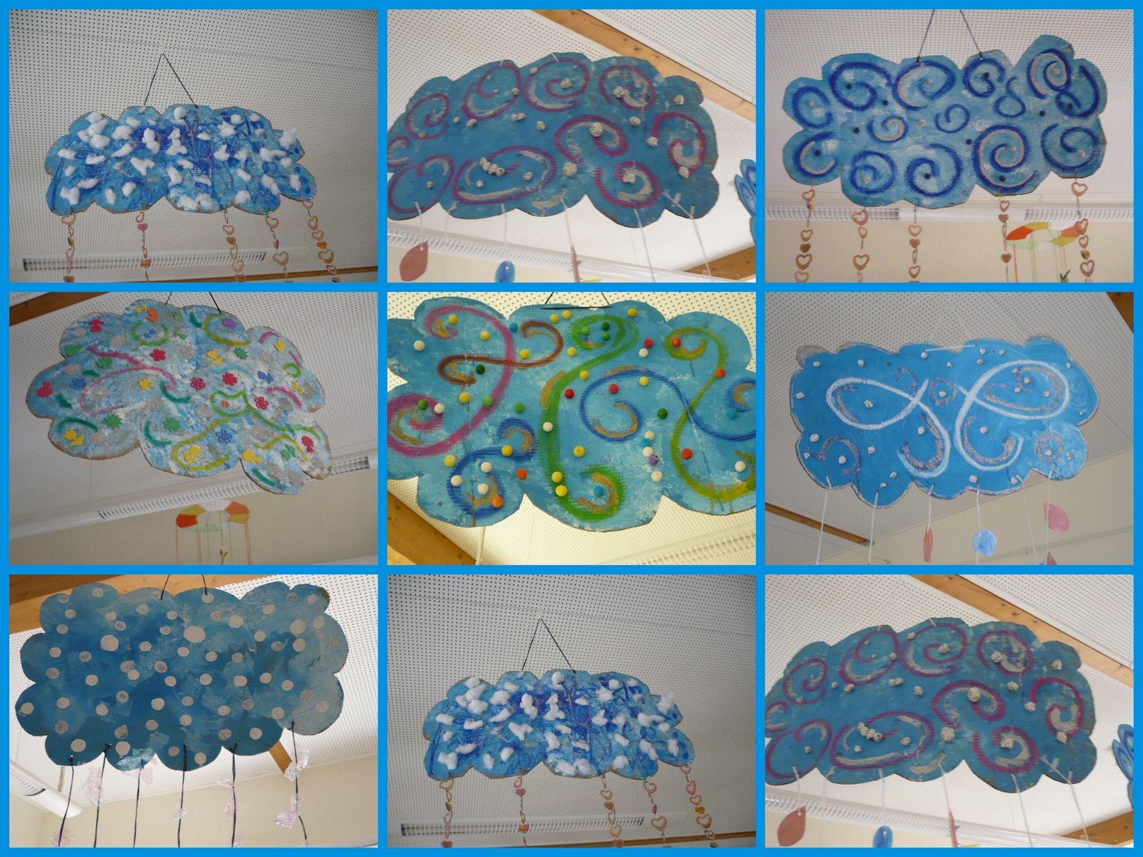 Activites manuelles et art plastique mobiles les nuages en couleur - Activites manuelles petit ...