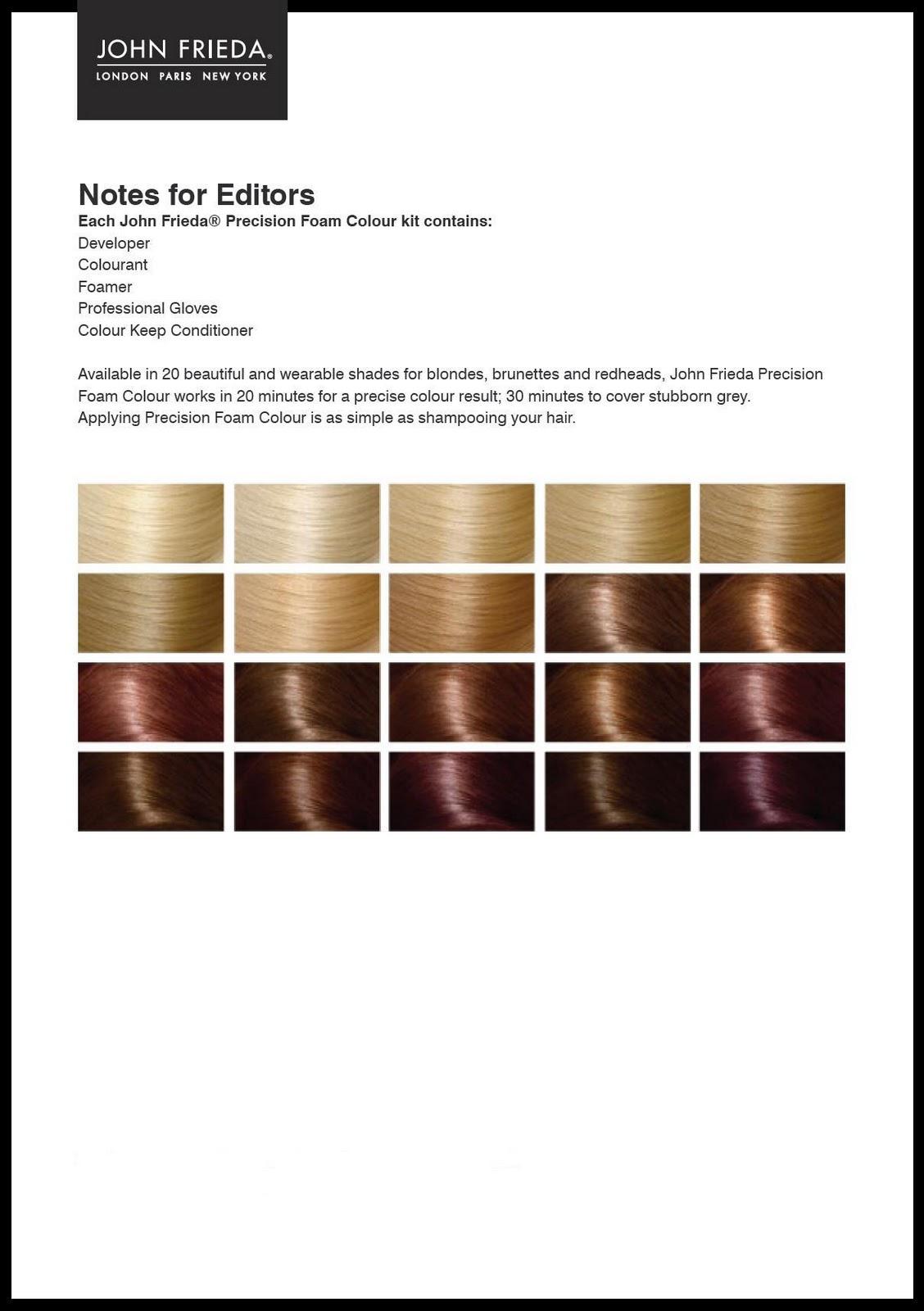john frieda precision foam colour instructions