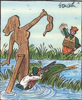 duck baiting a hunter