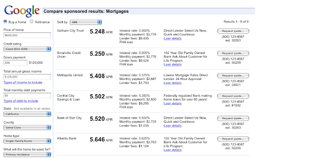 Google Adwords Comparison Ad: Comparing Mortgage Results