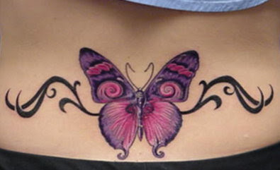 lower back tattoos butterflies