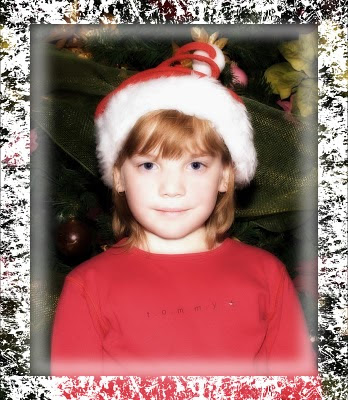 child's christmas portrait using photoshop edge to frame it
