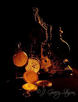 painting with light photography; photograph of vintage time pieces