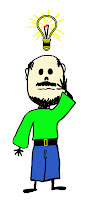stickboy man with beard and lightbulb over head