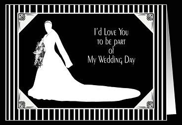 wedding card of bride in silhouette used to invite maid of honor or bridesmaids