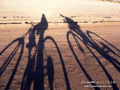 Jess and Mei's biking shadows in Atacama Desert
