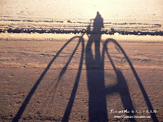 Mei's biking shadow in Atacama desert