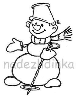 штамп для скрапбукинга: снеговик с лыжной палкой